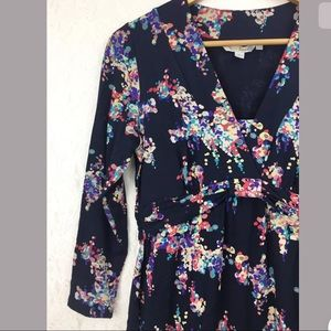 Boden Navy Blue Pink Floral Dress